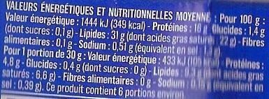 Le Crémeux - Fromage pâte molle au lait de vache pasteurisé - Voedingswaarden - fr