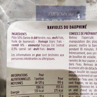 Ravioles du dauphinés - Ingrédients