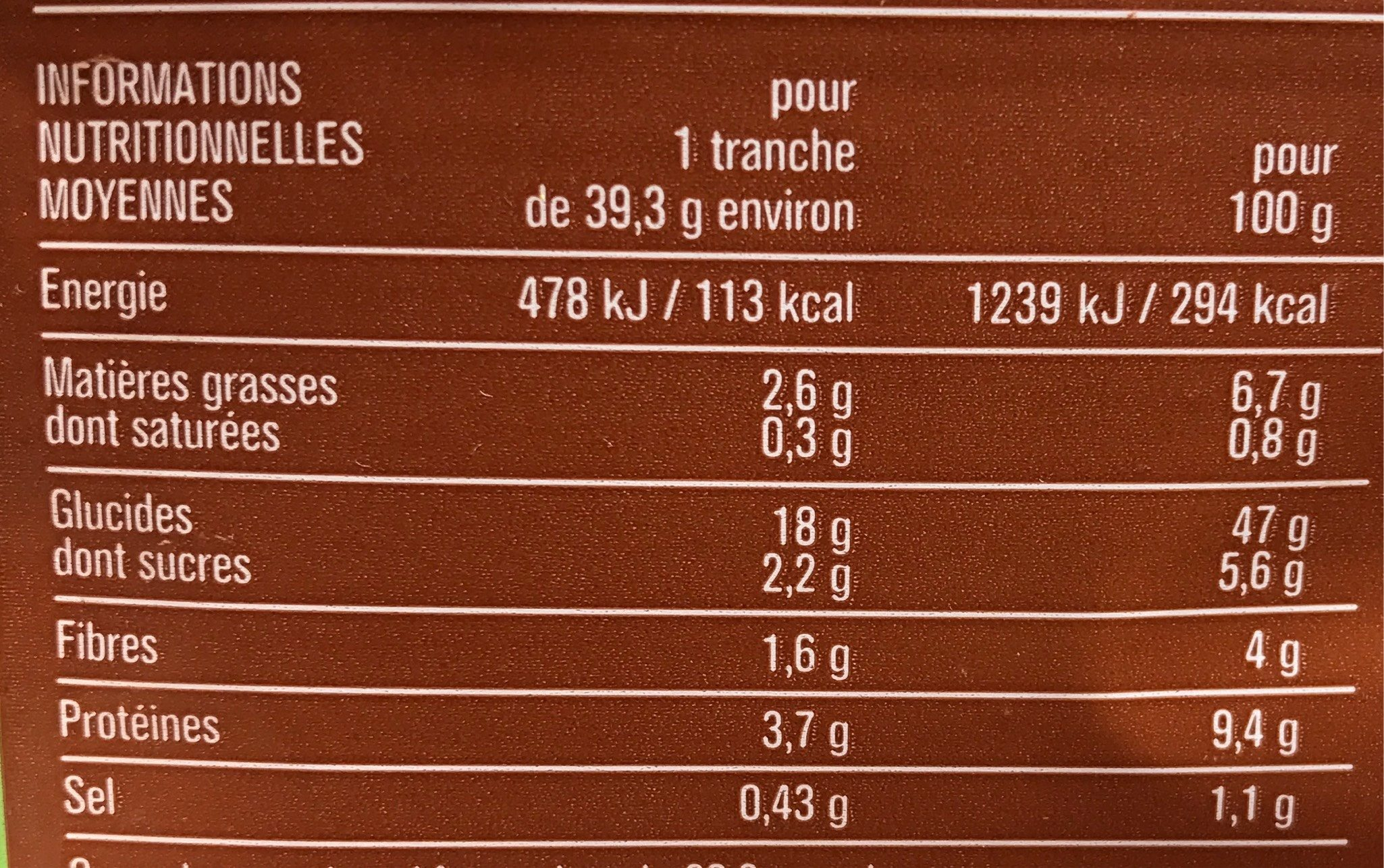 Le 7 Céréales Pain de Mie - Informations nutritionnelles - fr
