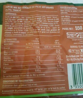 Les 7 céréales pain de mie - Nutrition facts - fr