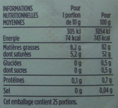 Beurre d'Isigny doux - Nutrition facts - fr