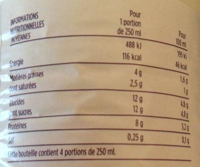 Lait frais microfiltré demi-écrémé - Nutrition facts - fr