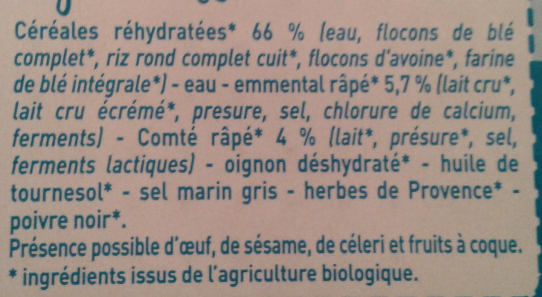 Galettes de Céréales aux 2 Fromages Bio - Ingredients - fr