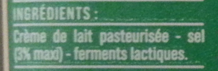 Beurre demi-sel (80 % MG) - Ingredients
