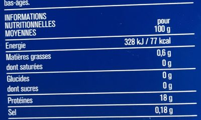 Filets de cabillaud - Informations nutritionnelles - fr