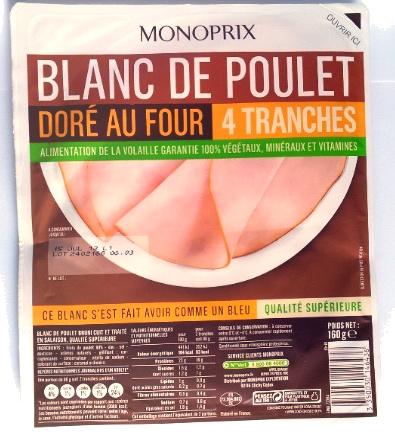 Blanc De Poulet Dor Au Four 4 Tranches Monoprix 160 G