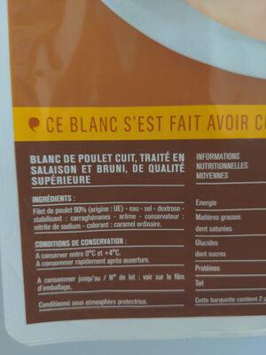 Blanc de Poulet, Doré au Four (4 tranches) - Ingredienti - fr