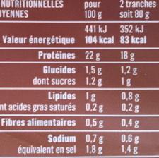 Blanc de Poulet, Doré au Four (4 tranches) - Informations nutritionnelles