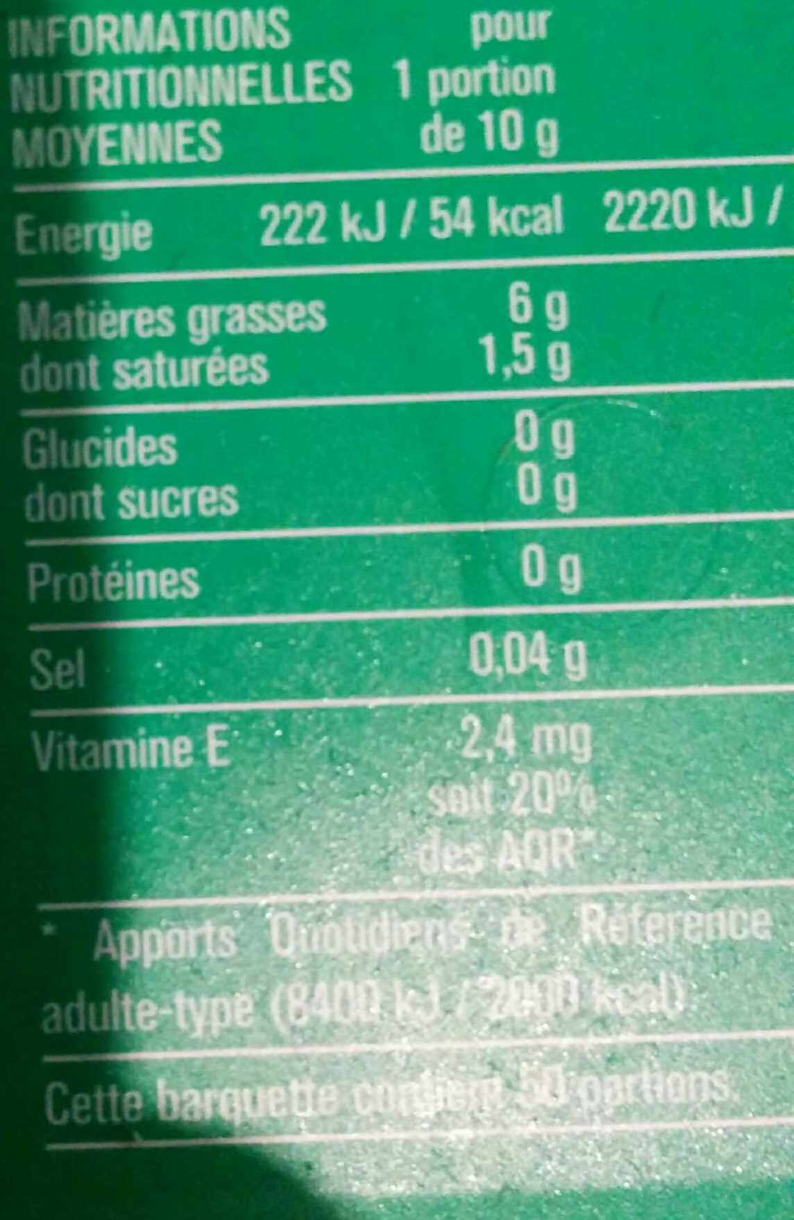 Cuisson et Tartine 60% MG - Voedingswaarden - fr