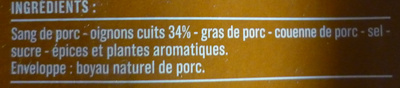 Boudin Noir Traditionnel aux Oignons - Ingrediënten