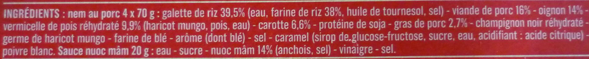 4 Nems au Porc avec Sauce Nuoc-Mâm - Ingrédients - fr