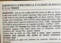 Sandwich Triangle Tomate Basilic Mozzarella - Ingrediënten - fr