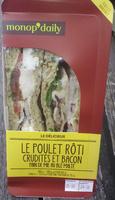 Le poulet rôti crudités et bacon pain de mie au blé malté - Produit - fr