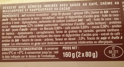 Tiramisu au mascarpone - Ingrédients