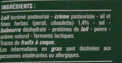 Fromage à Tartiner, Ail & Fines Herbes (24 % MG) - Ingrédients - fr