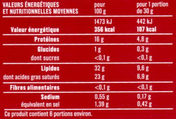 Brique au lait de vache (32 % MG) - Nutrition facts - fr