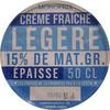 Crème Fraîche Légère Épaisse (15 % MG) - Produit