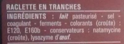 Raclette en tranches - Ingrédients - fr