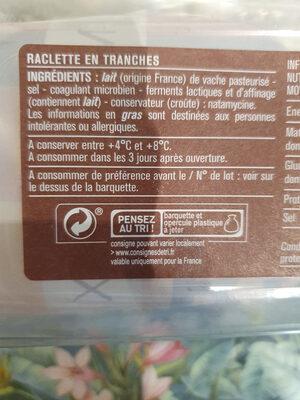 Raclette en tranches - Instruction de recyclage et/ou information d'emballage - fr