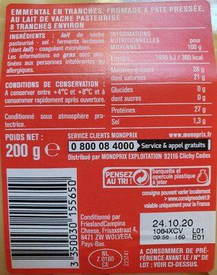 Emmental en tranches - Informations nutritionnelles - fr