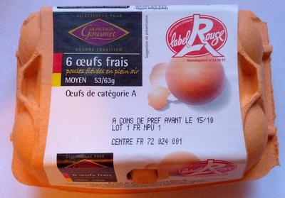6 oeufs frais moyen Label Rouge - Product