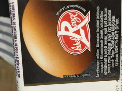6 oeufs frais moyen Label Rouge - Ingrediënten