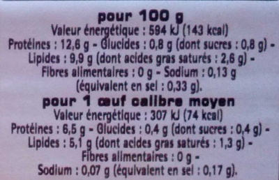 6 oeufs frais moyen Label Rouge - Voedigswaarden