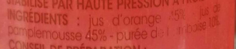Orange Pamplemousse pur jus fraîchement pressé à la Framboise - Ingrediënten