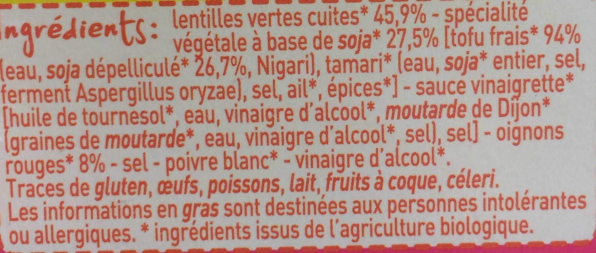 Lentilles et tofu fumé sauce vinaigrette - Ingrédients - fr