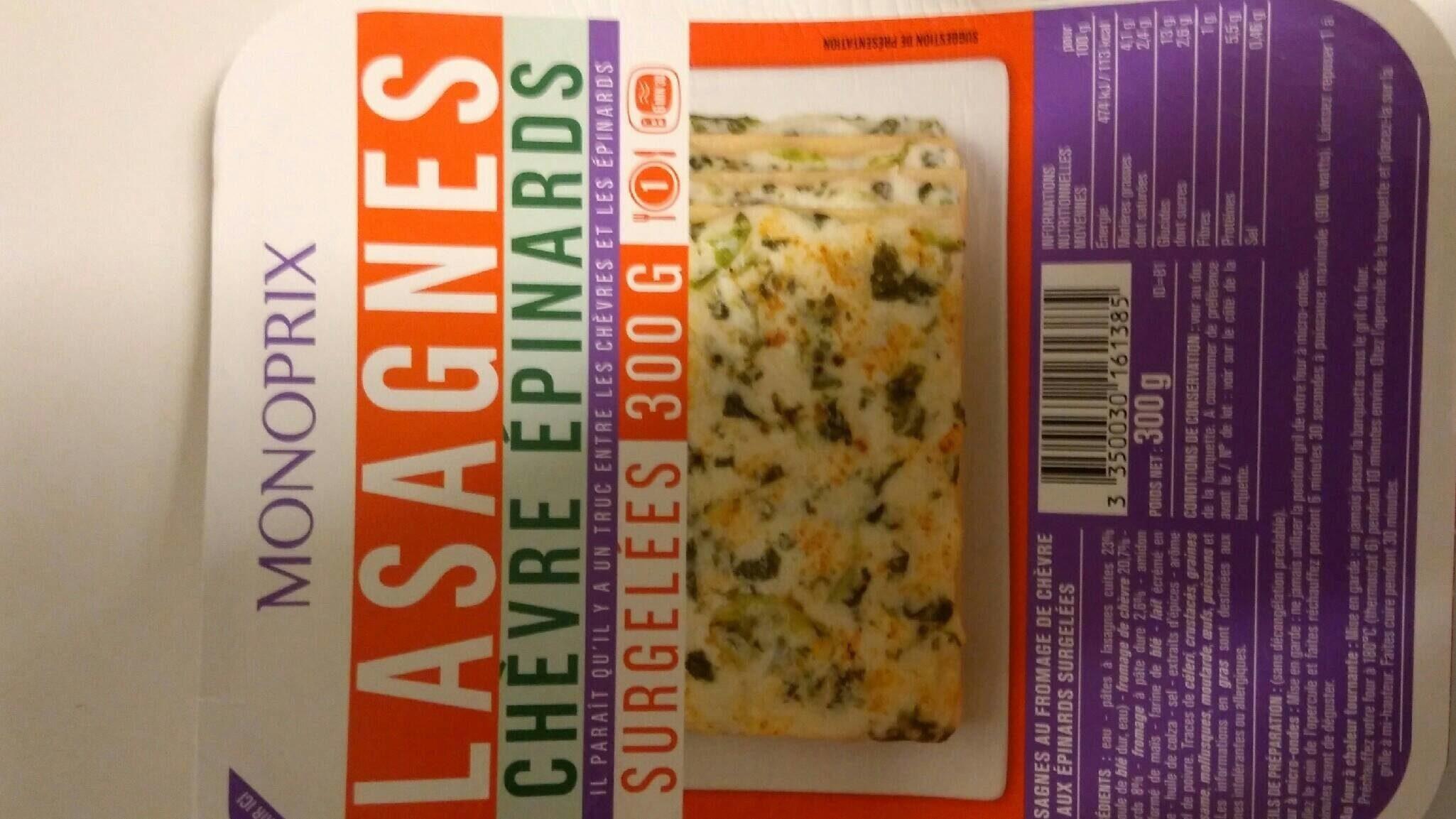 Lasagnes chèvre épinards - Nährwertangaben - fr