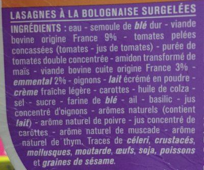 Lasagnes bolognaise - Ingrediënten