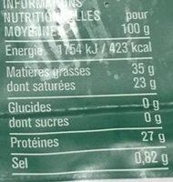 Comté AOP (35 % MG) - Información nutricional