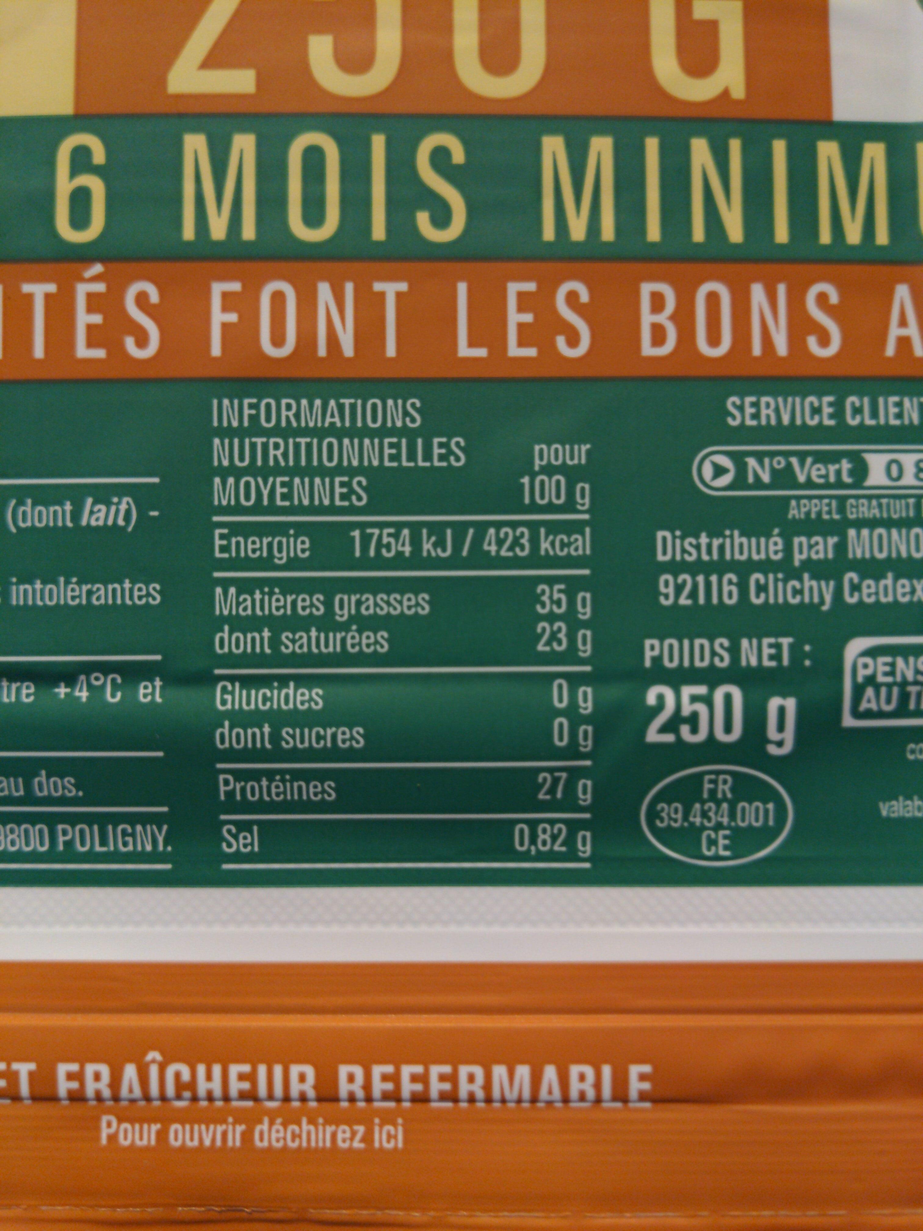 Comté AOP (35 % MG) - Informations nutritionnelles - fr