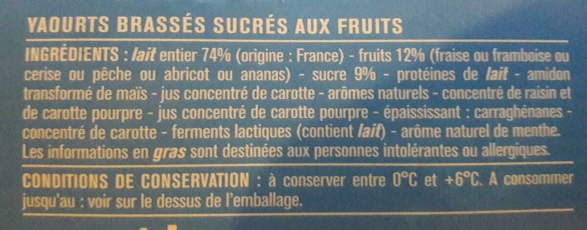 8 Yaourts aux fruits avec morceaux - Ingrédients