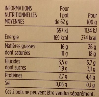 Fontainebleau Nature - Nutrition facts