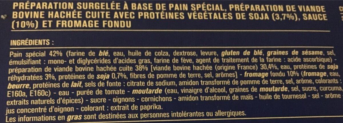 Cheesburger - Ingrédients - fr