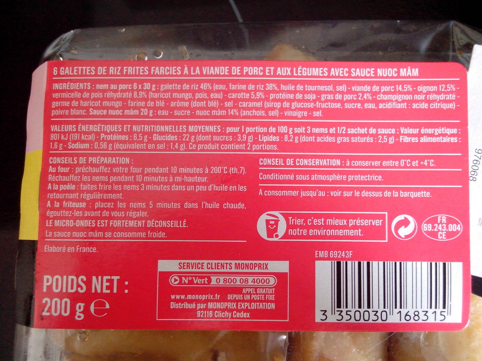6 Mini Nems au Porc avec Sauce Nuoc-Mâm - Nutrition facts