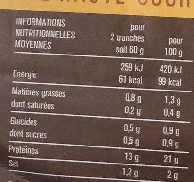 Blanc de poulet aux fines herbes - Informations nutritionnelles