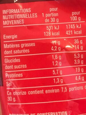 Chorizo fort - Nutrition facts - fr