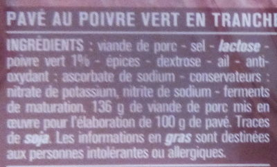 Pavés au poivre vert - Ingrediënten - fr