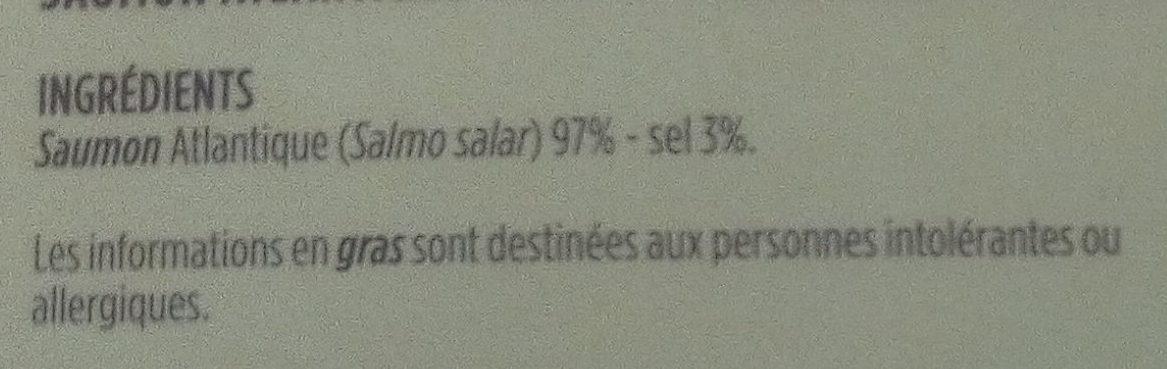 Label Rouge - SAUMON ATLANTIQUE FUMÉ - Ingrediënten - fr