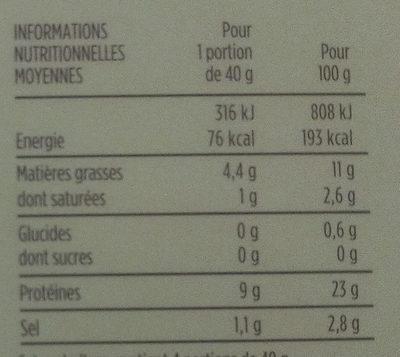 Label Rouge - SAUMON ATLANTIQUE FUMÉ - Voedingswaarden - fr