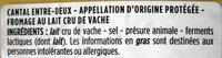 Cantal Entre-Deux AOP au lait cru (30 % MG) - Ingrediënten