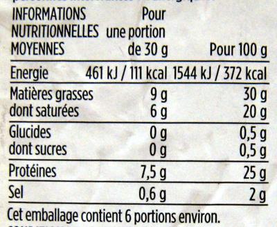 Cantal Entre-Deux AOP au lait cru (30 % MG) - Voedingswaarden
