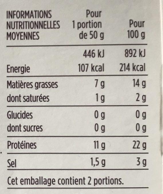 Emincés de saumon Atlantique, fumés au citron et aneth - Voedingswaarden - fr