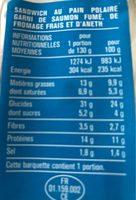 Saumon Fume aneth pain polaire - Informations nutritionnelles