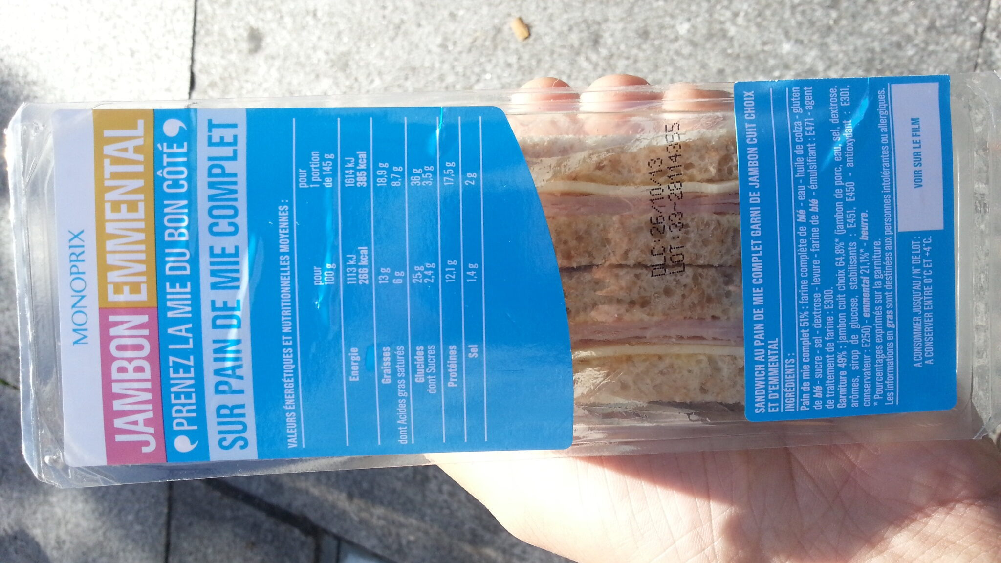 Jambon emmental - Nutrition facts