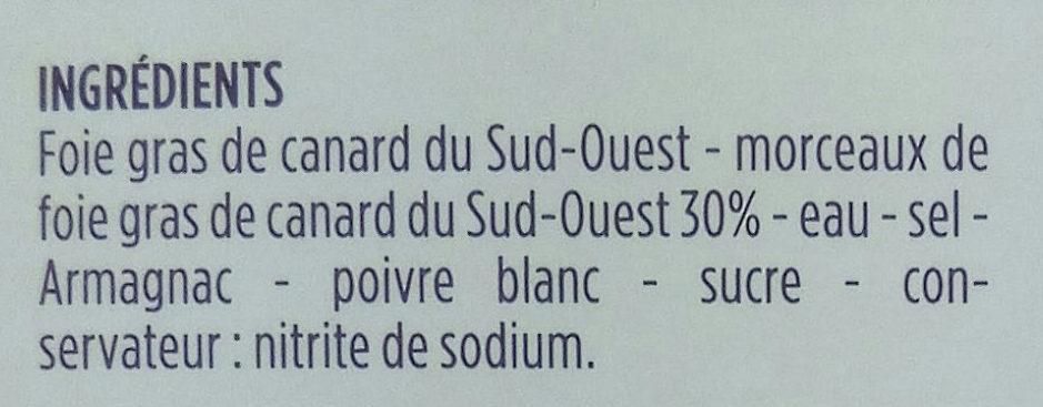 Bloc de Foie Gras de canard de cdu Sud-Ouest avec morceaux IGP - Ingrédients - fr