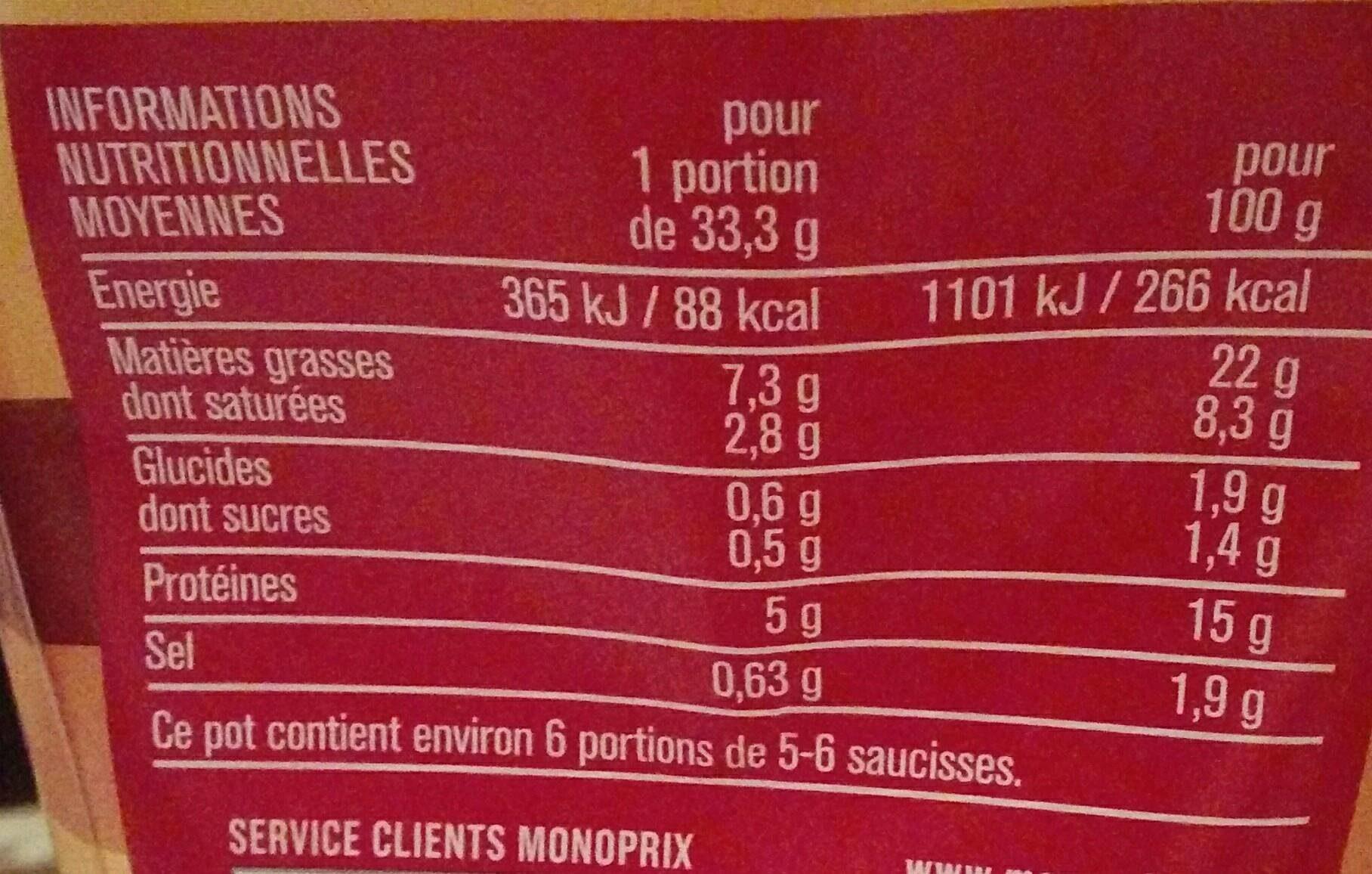 Mini knacks - Saucisses de Strasbourg - Informations nutritionnelles - fr