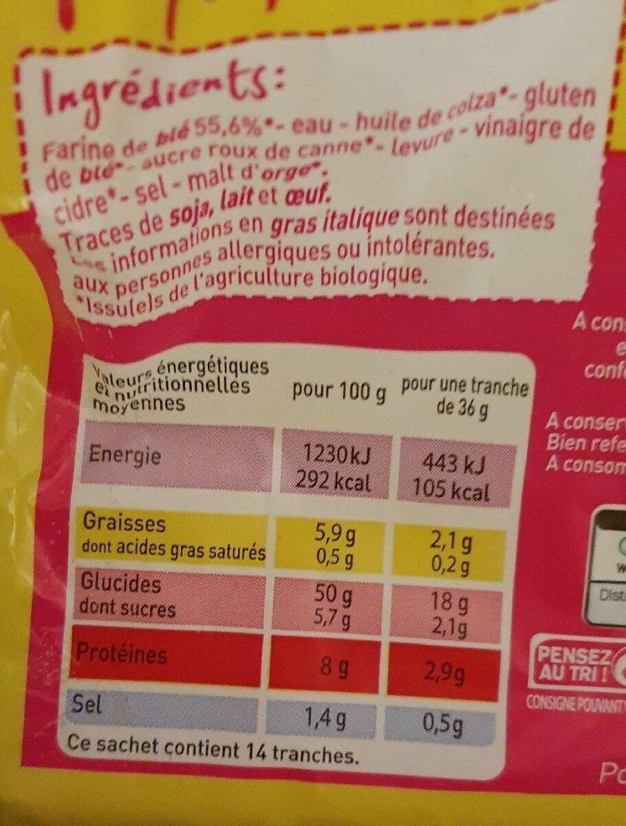 Pain de mie blanc Bio - Valori nutrizionali - fr